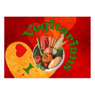 I vegetarianos del corazón tarjetas de visita grandes