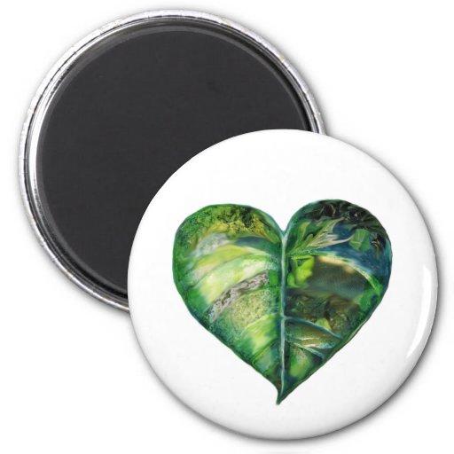 I verde del corazón imán de frigorífico
