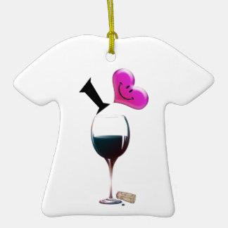 I vino del corazón adorno de cerámica en forma de camiseta