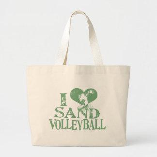 I voleibol de la arena del corazón bolsa tela grande