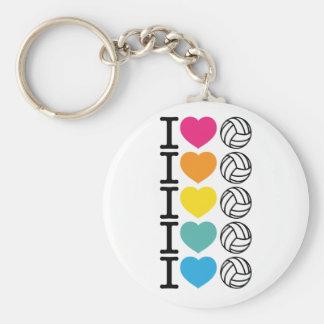 I voleibol del corazón - arco iris llavero redondo tipo pin