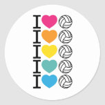 I voleibol del corazón - arco iris pegatina redonda