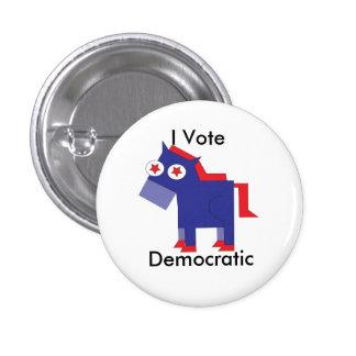 I Vote Democratic 1 Inch Round Button