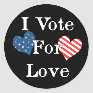 I Vote For Love Classic Round Sticker