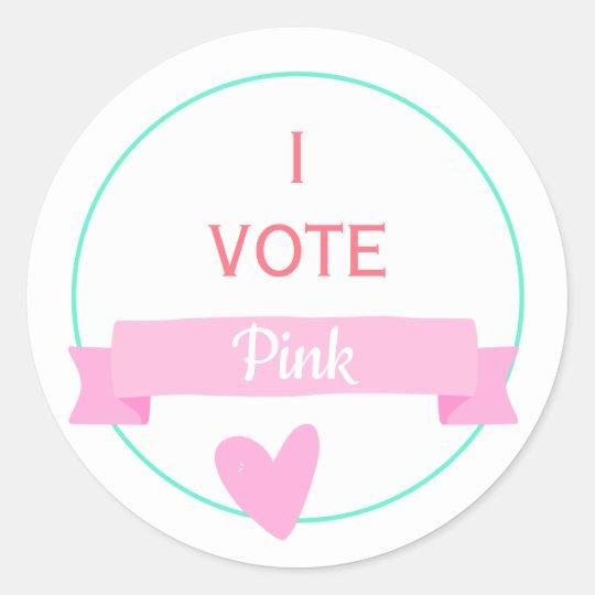 I Vote Pink Baby Shower Gender Reveal Game Classic Round Sticker
