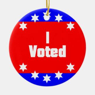 I Voted Ceramic Ornament