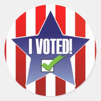 I Voted! Classic Round Sticker