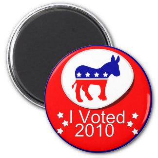 I Voted Democratic in 2010! 2 Inch Round Magnet