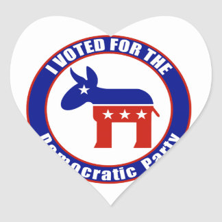I Voted For Democratic Party Heart Sticker