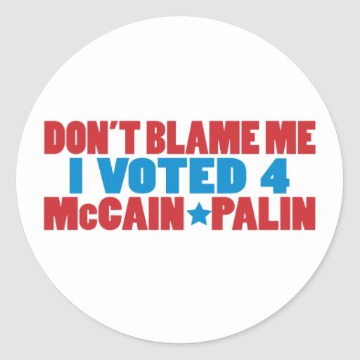 I Voted for McCain Palin Round Stickers