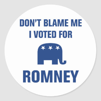 I Voted For Romney Classic Round Sticker