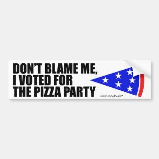I Voted For The Pizza Party bumper sticker (white) Car Bumper Sticker