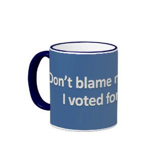 I voted for the woman - Blue Ringer Mug