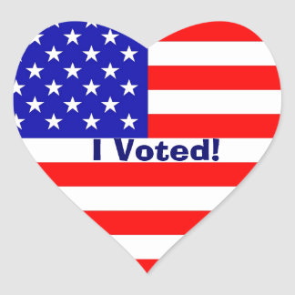 I Voted! Heart Flag Stickers