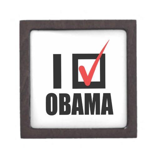 I VOTED OBAMA BW -.png Premium Trinket Boxes