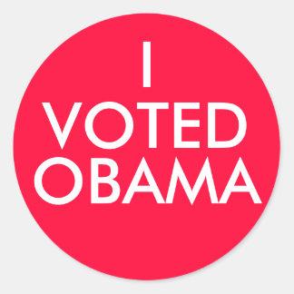 I, VOTED, OBAMA ROUND STICKERS