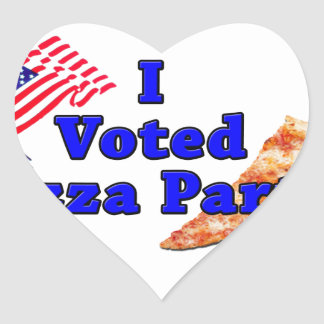 I Voted Pizza Party Heart Sticker