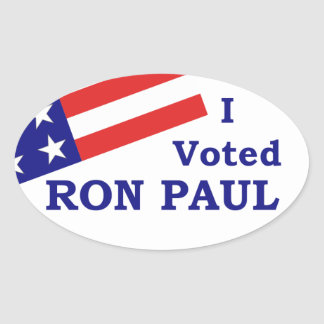 I Voted Ron Paul Oval Sticker (4 stickers)