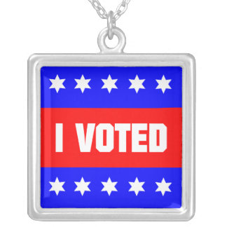 I Voted Square Pendant Necklace