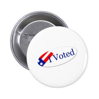 I Voted Sticker Pinback Button