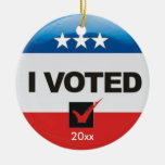 I Voted TWO-SIDED Double-Sided Ceramic Round Christmas Ornament