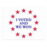 I Voted We Won Postcard