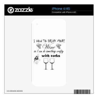 I vow to drink more wine so I can do something cra Skin For The iPhone 4