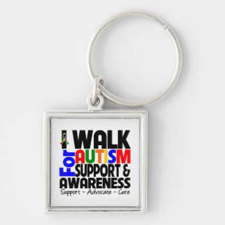 I Walk For Autism Awareness Silver-Colored Square Keychain