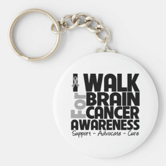 I Walk For Brain Cancer Awareness Basic Round Button Keychain