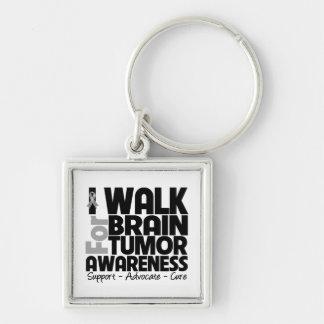 I Walk For Brain Tumor Awareness Silver-Colored Square Keychain