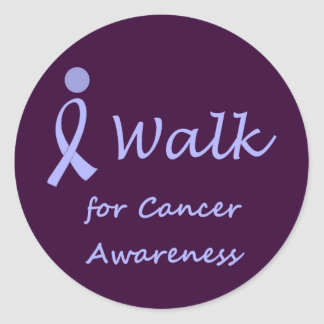 I Walk for Cancer Awareness - Lavender Ribbon Classic Round Sticker