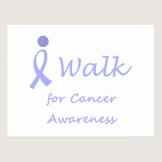 I Walk for Cancer Awareness - Lavender Ribbon Postcard