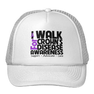 I Walk For Crohn's Disease Awareness Trucker Hats