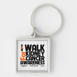 I Walk For Kidney Cancer Awareness 2 Silver-Colored Square Keychain