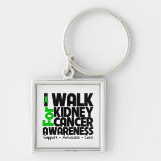 I Walk For Kidney Cancer Awareness Silver-Colored Square Keychain