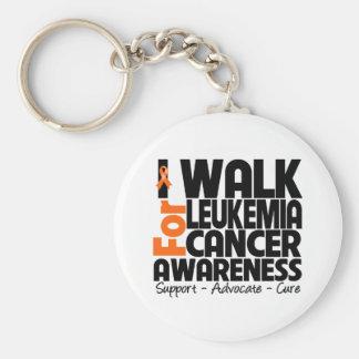 I Walk For Leukemia Cancer Awareness Basic Round Button Keychain