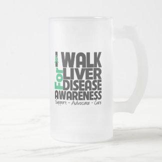I Walk For Liver Disease Awareness 16 Oz Frosted Glass Beer Mug