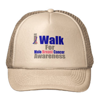I Walk For Male Breast Cancer Awareness Mesh Hat