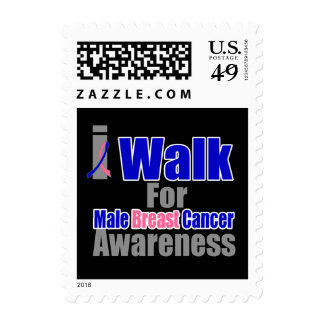 I Walk For Male Breast Cancer Awareness Postage Stamps