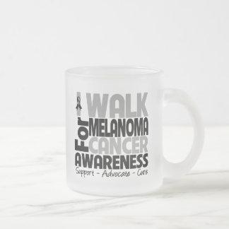 I Walk For Melanoma Awareness Frosted Glass Coffee Mug