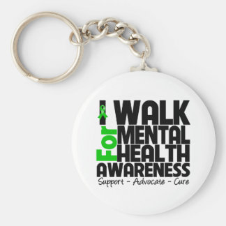 I Walk For Mental Health Awareness Basic Round Button Keychain