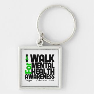 I Walk For Mental Health Awareness Silver-Colored Square Keychain