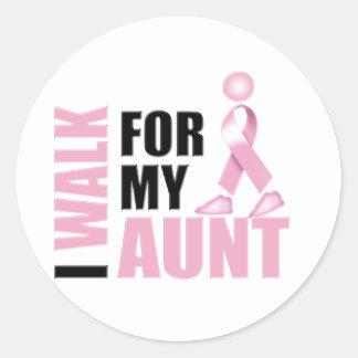 I Walk for my Aunt Pink Classic Round Sticker