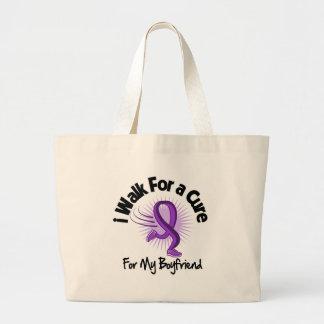 I Walk For My Boyfriend - Purple Ribbon Tote Bag
