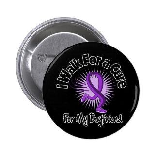 I Walk For My Boyfriend - Purple Ribbon Buttons
