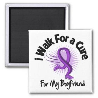 I Walk For My Boyfriend - Purple Ribbon Magnet