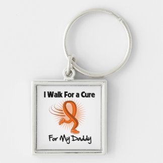 I Walk For My Daddy - Leukemia Silver-Colored Square Keychain