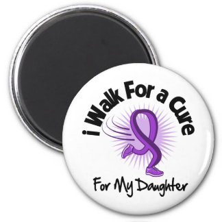 I Walk For My Daughter - Purple Ribbon 2 Inch Round Magnet