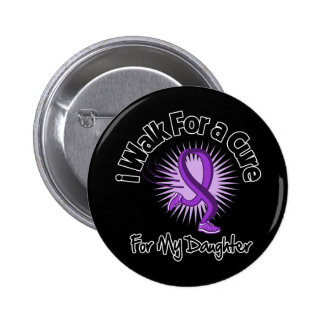 I Walk For My Daughter - Purple Ribbon Pinback Button