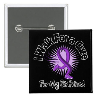I Walk For My Girlfriend - Purple Ribbon Pinback Button
